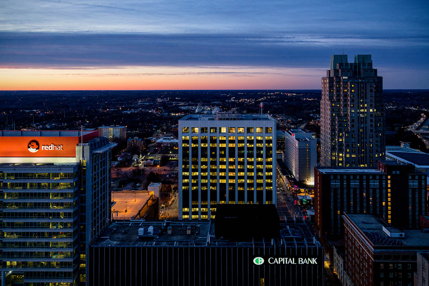 Architectural Photography: photo of Raleigh skyline at sunset