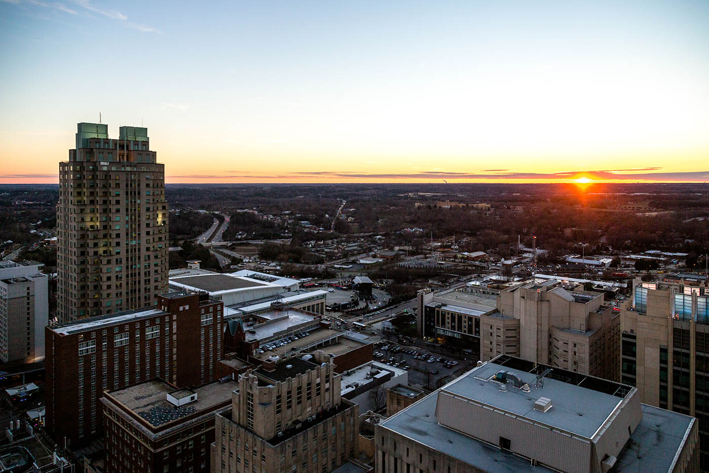Architectural Photography: Raleigh Skyline At Sunrise