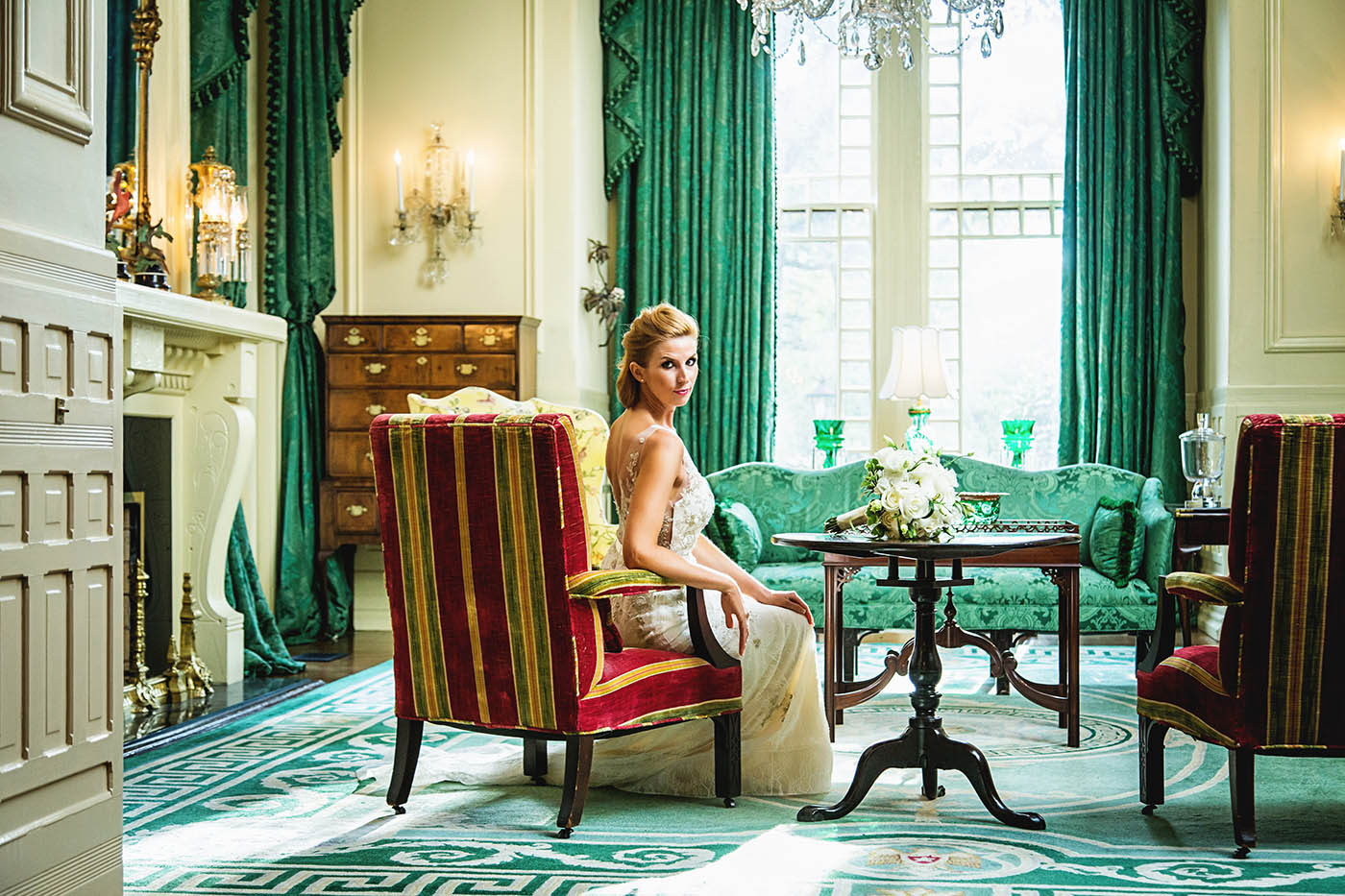 A photo taken during a fashion shoot at the NC governors mansion.