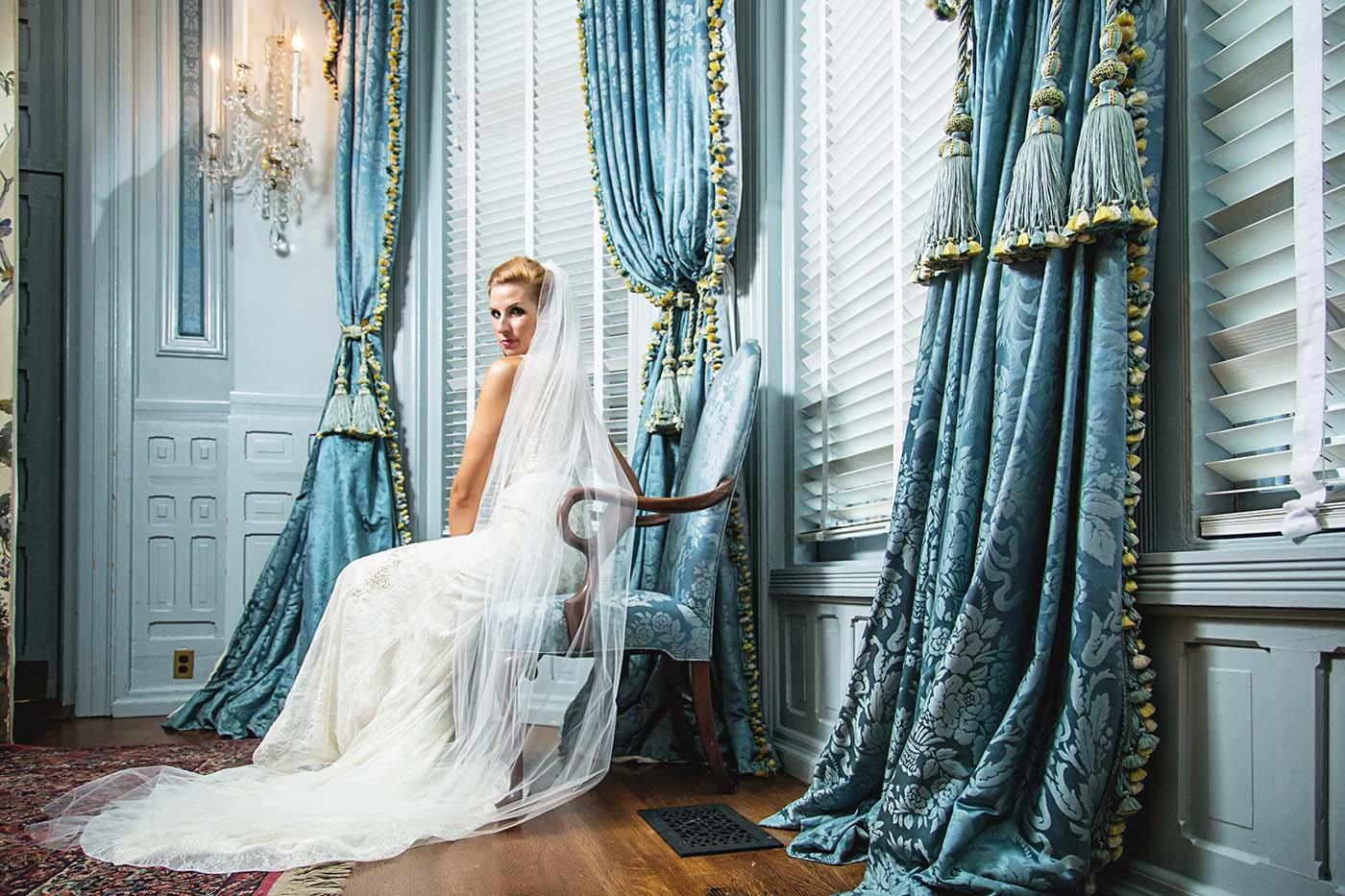 Fashion Photography: Bride in the governors mansion in Raleigh NC