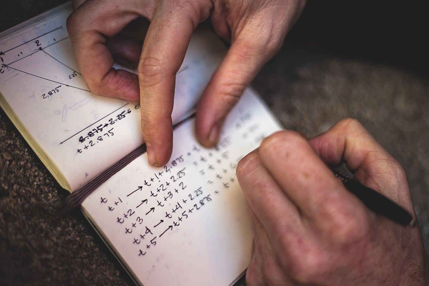 Art Photography: close up of a man taking notes in a notebook